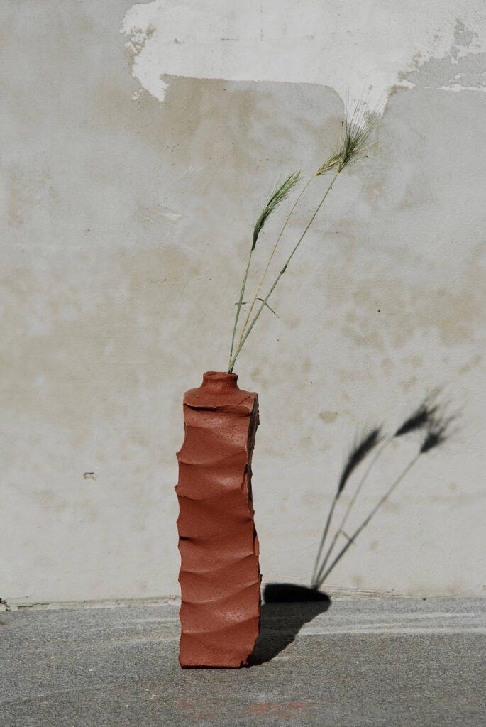 Hand made burned ceramic vase
