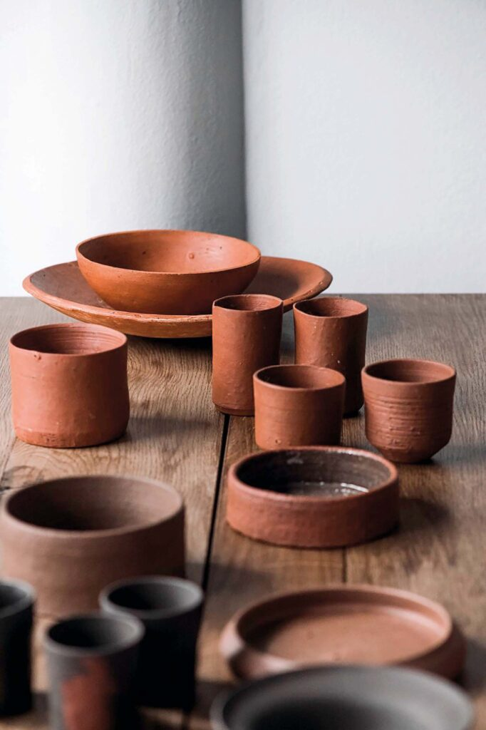 terakota art vases cups bowls
